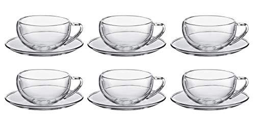 Set da 6 tazze e sotto tazze da the in vetro borosilicato con doppia camera