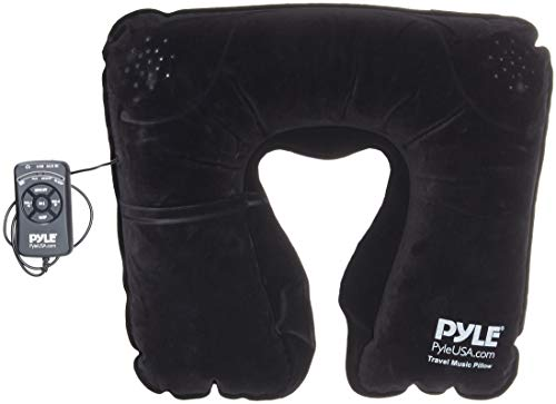 Pyle Portable and Comfortable Travel Music Pillow - Neck Support w/ Rechargeable Battery Dual Speaker Bluetooth Connectivity and Remote Control for Wireless Streaming at Home Office Traveling - PITS18