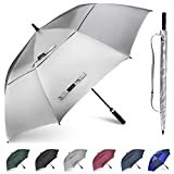 Gonex 68 Inch Silver Extra Large Golf Umbrella, Automatic Open Travel Rain Umbrella with Windproof Water Resistant Double Canopy, Oversize Vented Umbrellas for 2-3 Men and UV protection, Black