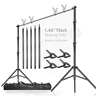 LimoStudio, 12ft (W) x 10ft (H) Backdrop Muslin Support Structure System Strong and Stable 12.4 ft. Backdrop Stand, Premium Quality Carry Bag, Photo Video Studio, AGG1782