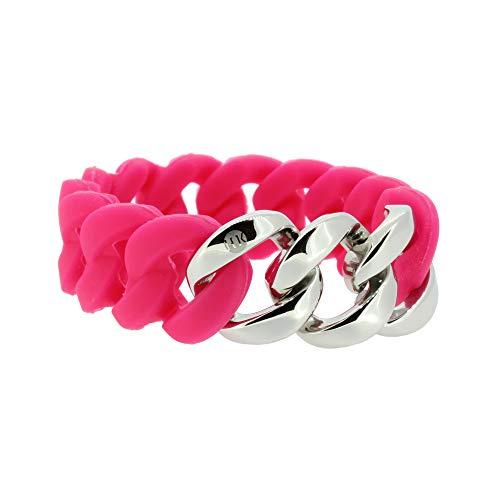 Hanse-Klunker Armband Damen ORIGINAL Silikon Pink, Edelstahl Silber Armreif Armkette Frauen Mädchen Größe 18-19 cm inkl. Schmuck-Geschenk-Box