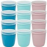 Codil Juegos de Tupper Plásticos para Alimentos,Tapers Redondo Pequeños Reutilizables para Comida Sin BPA,Recipientes con Tapa,Apto para Microondas Lavavajillas y Congelador(Rosa Verde y Azul,12x0.5L)