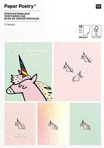Postkartenblock, Einhorn: 15 Stück, 5 Designs, 12,5 x 17,6 cm, 400g/m²