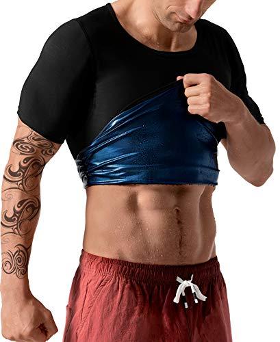 QZSH Men Sauna Shirt Sweat Suit Slimming Vest Workout Tank Top Waist Trainer Shaper(BH6004-01-XL)