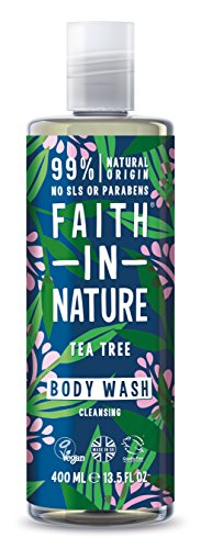 Faith in Nature Gel de Baño Natural de Árbol del Té, Purificante, Vegano y No Testado en Animales, sin Parabenos ni SLS, 400 ml