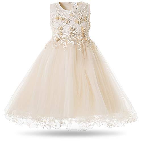 CIELARKO Mädchen Kleid Prinzessin àrmellos Blumen Hochzeits Festzug Kleid Blumenmädchen Kleider, Gelb, 2-3 Jahre