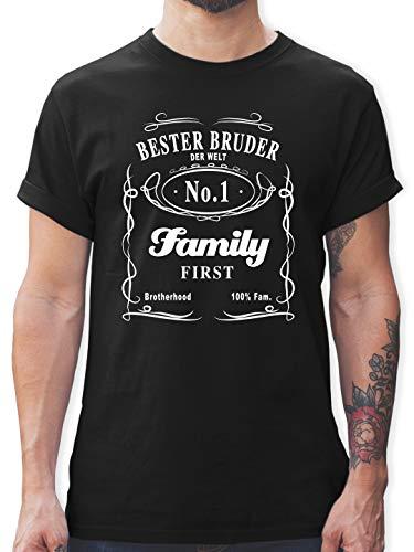 Bruder & Onkel - Bester Bruder Lettering - XL - Schwarz - L190 - Tshirt Herren und Männer T-Shirts
