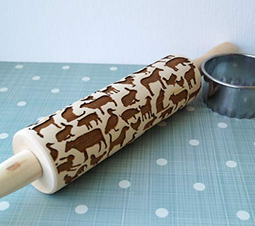 Embossing rolling pin, Farm animals design, Cookies decorating wooden rolling pin