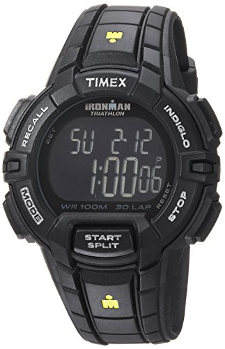 Timex Men's TW5M15900 Ironman Rugged 30 Full-Size Black/Yellow Resin Strap Watch