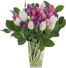 Stargazer Barn - Big Flirt Bouquet - 2 Dozen Assorted Tulips With Clear Vase - California Grown