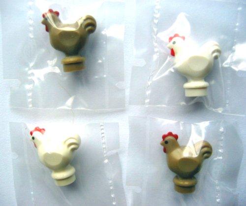 LEGO City - 4 sehr seltene Hühner - je 2 in weiss und dunkel beige - Minifiguren Hahn und Henne - Huhn