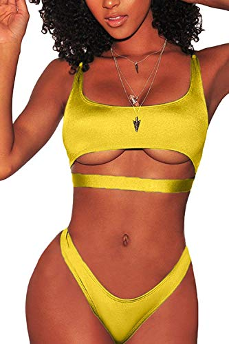 ESONLAR Bikini Swimsuit for Women Sexy Scoop Neck Strappy Cutout Straps Brazilian Style Two Pieces Swim Outfit Yellow S