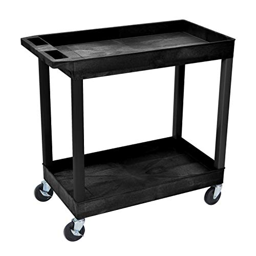 """Offex 32"""" x 18"""" Mobile Multipurpose Utility Tub Cart with 2 Shelves and Push Handle - Black, Great for Warehouse, Garage and More"""