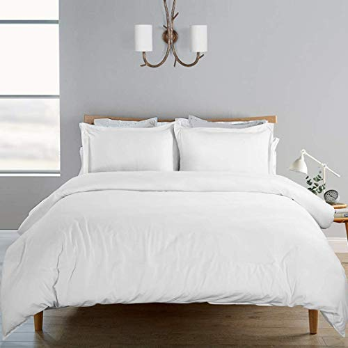 SORMAG Duvet Cover King Size 3 Piece, 100% Washed Cotton, 800 Thread Count Solid Color and Ultra Soft with Zipper Closure, Corner Ties, Simple Bedding Style, White