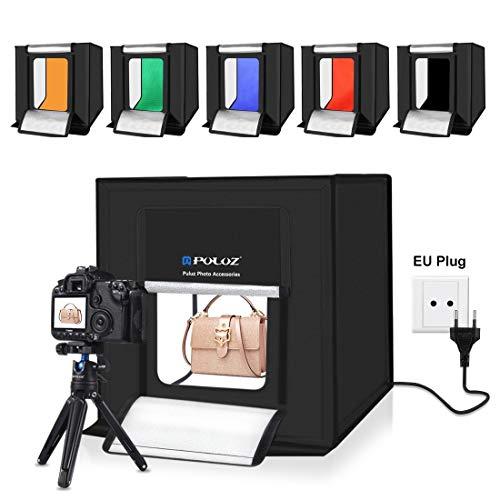 QYWSJ Estudio Fotográfico Portátil Plegable de 40 cm, Kit de Caja de Carpa para Estudio Fotográfico de Iluminación de Luz Blanca de 30W 5500K, con Fondos de 6 Colores (40 cm*40 cm*40 cm)