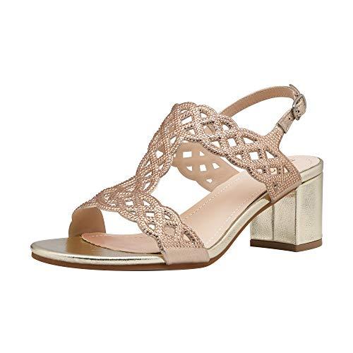 DREAM PAIRS Women' s Chunky Low Block Heels Open Toe Rhinestone Wedding Dress Cutout Slingback Sandals Gold/MEDICY-2 Size 8