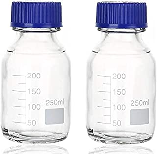 Para-wish Thick Glass Round Media Storage Bottles with Blue GL45 Screw Cap Pk/2 Thick Graduated Borosilicate Pyrex Glass Container
