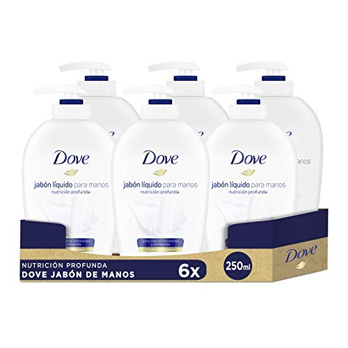 Dove Jabón para manos dispensador, con 1/4 de crema hidratante, Pack de 6 (6 x 250 ml)