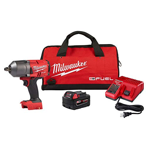 Milwaukee 2767-21B M18 FUEL 18-Volt Lithium-Ion Brushless Cordless 1/2 in. Impact Wrench w/Friction Ring (2767-20) w/One XC5.0 Ah Battery, M18/M12 Multi-Voltage Charger and Contractor Bag