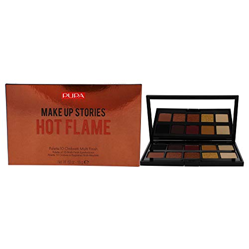 Pupa Milano Pupa milano make up stories eyeshadow palette - palette of 10 eyeshadows for an incandescent look - extraordinary coverage and perfect adherence - 002 hot flame - 0.63 oz