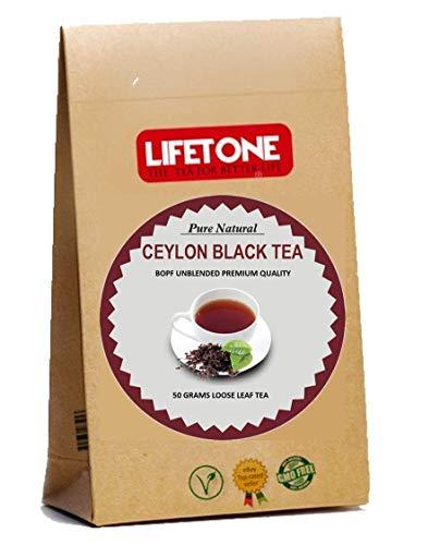 lifetone the tea for better life, Schwarzer Tee | Ceylon BOPF Premium Loseblatt | Englischer Frühstückstee | 50 Cup 50 Gramm