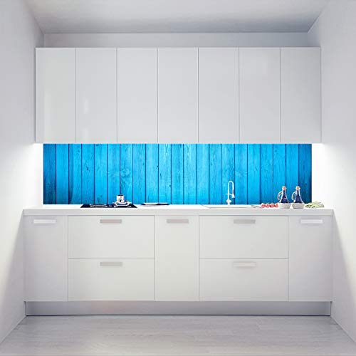 Küchenrückwand Acryl Glasplatte als Einzelplatte oder Plattenset für Eck und U-Form Küchen Zuschnitt auf Maß - Motiv Wide Wood Blue