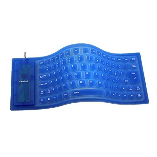 Chef Turk Teclado Teclado de Silicona, Teclado silencioso de 85 Teclas de 85 Teclas por Cable, Adecuado para Teclado Suave General de computadora portátil (Color : Blue)
