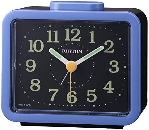 リズム(RHYTHM) 目覚まし時計 アナログ ジャプレSR859 【 日本製 】 ベル音 ・ アラーム 一発鳴り止め仕様 蓄光 青 RHYTHM 4RA859SR04
