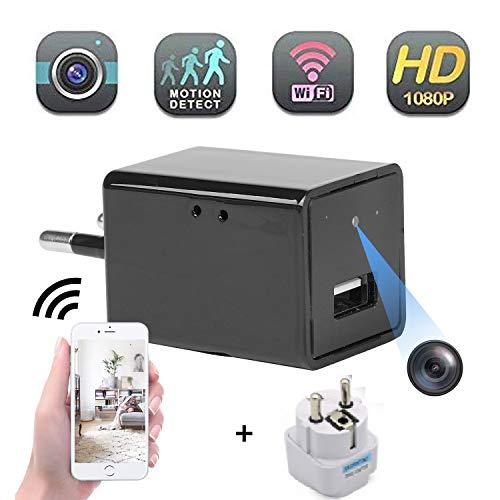 Mini telecamera nascosta Full HD 1080P caricatore USB telecamera WiFi per sorveglianza di sicurezza domestica con visione remota/rilevamento di movimento/registrazione in loop + spina di conversione