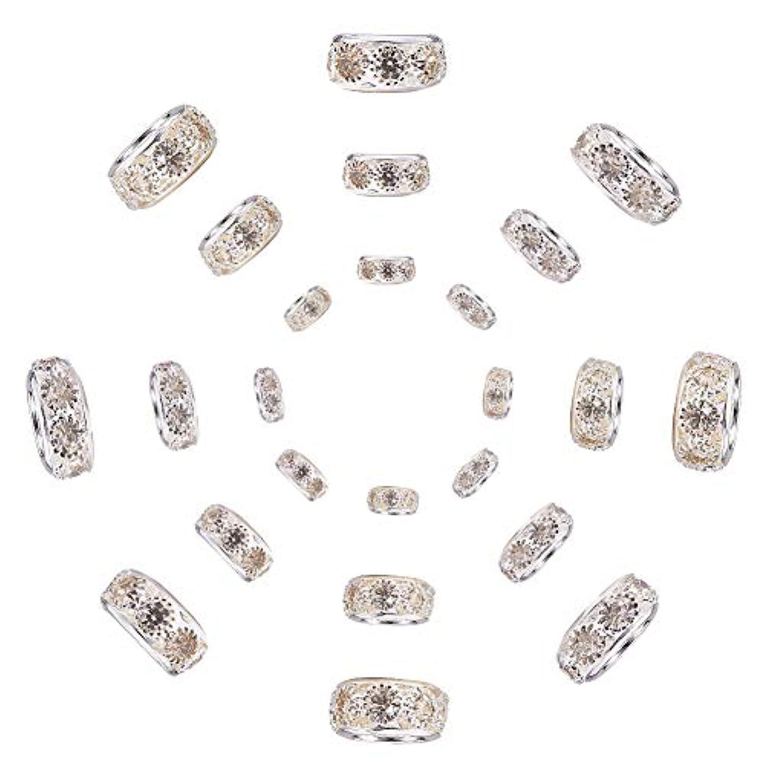 PandaHall Elite 15 Pcs Brass European Beads Crystal Rhinestone Rondelle Large Hole Bead Diameter 10mm 12mm 14mm Fit Snake Style Charm Bracelet