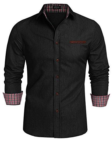 Coofandy Jeanshemden Herren regular fit Denim Shirt Langarmhemd Cowboy-Style Freizeit Hemden , Farbe - Schwarz , Gr. XL