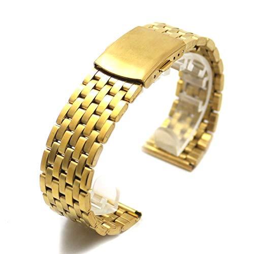 RHBLHQ 18mm 20mm 22mm Reemplazo Venda De Reloj del Oro del Hierro del Reloj del Metal Correas Veces por Encima del Corchete Pulsera Hebilla Hombres Mujeres Relojes (Size : 18mm)