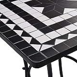 vidaXL Mosaik Bistrotisch Gartentisch Balkontisch Mosaiktisch Terrassentisch Tisch Beistelltisch Gartenmöbel Schwarz Weiß 60cm Keramik - 6