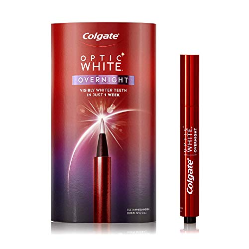 Colgate Optic White Overnight Teeth Whitening Pen, Gentle Teeth Stain Remover to Whiten Teeth, 3% Hydrogen Peroxide Gel