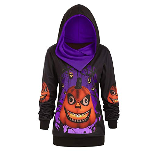 Best Price jin&Co Womens Sweatshirts and Hoodies Halloween Costumes Long Sleeve 3D Pumpkin Printed...