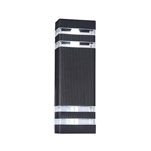 Applique murale exterieur, style moderne, armature en aluminium couleur noir, plafonnier rectangulaire en aluminium couleur noir, pour maison, escalier, terrasse 2 ampoules excl. 2x E27 60w IP54 230V