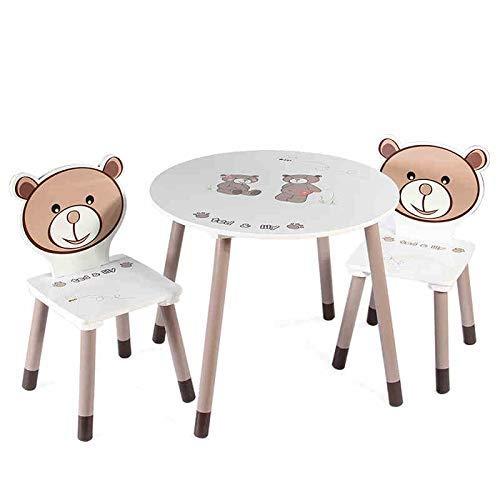 YUQIYU Inicio de Mesa y 2 sillas de Madera - Juega Presidente de Habitaciones Conjunto de Mesa y Mesa de Actividades de los niños