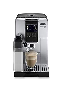 De'Longhi Dinamica Plus ECAM370.85.SB with 3,5? full touch TFT color display, 4 soft touch buttons, size and aroma selection, milk carafe My function, Pot function, coffee link app, silver
