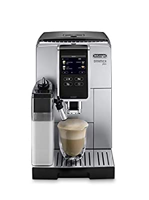 """De'Longhi Dinamica Plus ECAM370.85.SB with 3,5"""" full touch TFT color display, 4 soft touch buttons, size and aroma selection, milk carafe My function, Pot function, coffee link app, silver"""