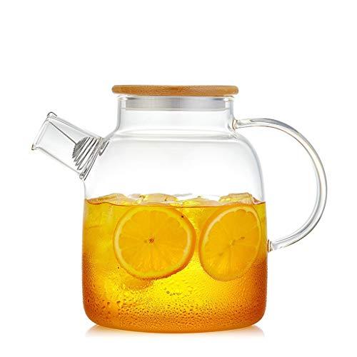 Jarra de Agua Jarra de vidrio con tapa de bambú |Oficina en el hogar Tetera de hielo Agua Botella de agua fría Agua caliente Vino frío Café Leche y jugo Bebida Tetera para té Helado ( Size : M )