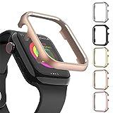 適応Apple Watch Series6 SE 5 4金属製バンパー保護ケース メタリック材質 超軽量型 耐衝撃性 装着簡単 シンプル アップルウォッチカバー(ローズゴールド 40mm)