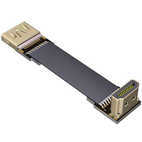 ADT-Link Flat Slim Angled Standard HDMI 2.0 Macho/Hembra a HDMI 2.0 Macho/Hembra 20 Pines FFC FPC Cable Plano de Codo de Cinta 2K / 144hz 4K / 60Hz para HDTV AV Fotografía aérea A1 (0.5m,A2-A4)