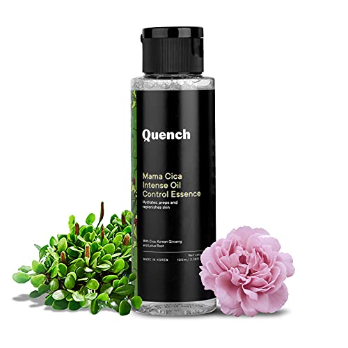 Quench Botanics Mama Cica Intense Oil Control Essence   Preps Skin for Skincare Routine to Follow   Hydrates Skin and Refines Pores   with Cica, Korean Ginseng, Lotus Root, Peony Root and Sea Buckthorn (100ml)