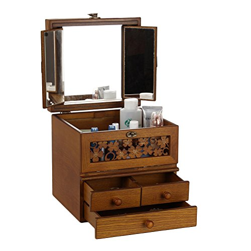 Rowlingコスメボックスメイクボックス三面鏡四葉のクローバーデザイン化粧道具入れ(BROWN)