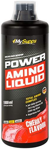 MySupps- Power Amino Liquid, hochdosierter Aminosäuren Komplex, 87,6g BCAA & 200g EAA pro 100ml, Vitamin B6 + Proteinhydrolysat, köstlich leckeres Power-Liquid für Sportler, Made in Germany- 1000ml (Cherry)