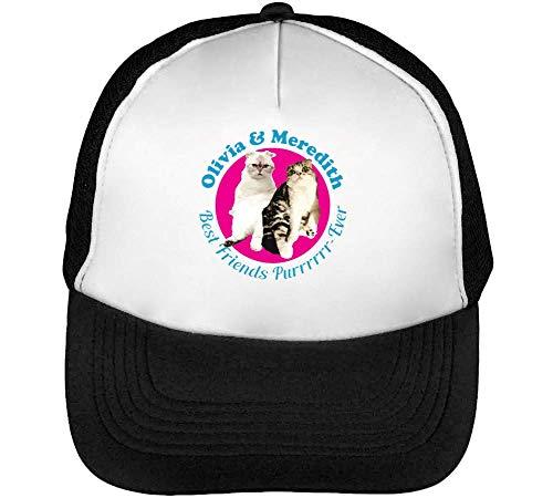 Olivia 's Meredith Best Friends Purrrever Gorras Hombre Snapback Beisbol Negro Blanco