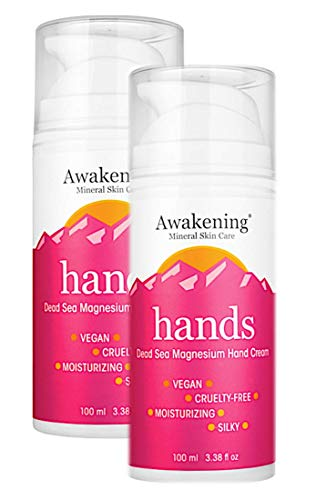 AWAKENING Hands Twin-Pack - Magnesium-Rich Hydrating Hand Therapy Hand Cream - Hand Lotion With Myrrh Extract and Concentrated Minerals of the Dead Sea for Dry Hands - Airless Pump Magnesium Cream