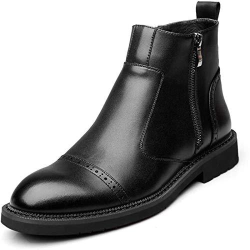 Zapatos de Hombre Antideslizante Fácil Cuidado De La Bota Del Tobillo Botina Hombres Tire De Los Zapatos De Cuero De La Cremallera Lateral De Microfibra Dedo Del Pie Redondo Retro Suela De Goma