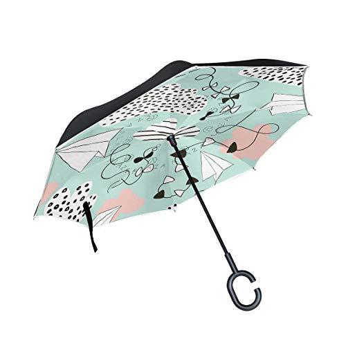 SKYDA Umkehr-Regenschirm, faltbar, Flugzeuge und Wolken, umgekehrt, doppelschichtig, Winddicht, Regenschirm für Auto und Regen im Freien, mit C-förmigem Griff
