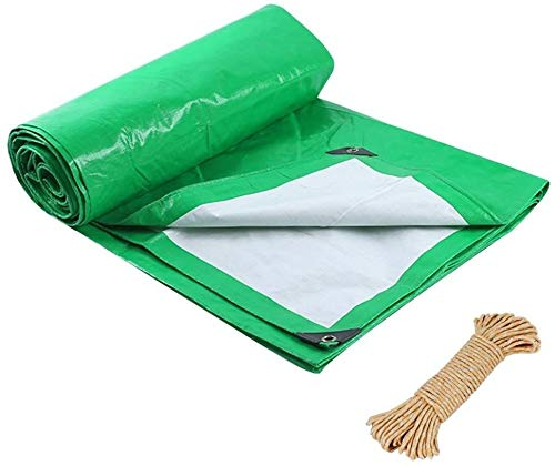 Tarpaulin Tarpaulin Tarp Ground Sheet Covers Shed Cloth Awning Tent Plastic Thicken Waterproof Heavy Duty Reinforced Rainproof Sun Shade Outdoor, Multi Sizes, 180G/M² (Color : Green, Size : 5x6m)